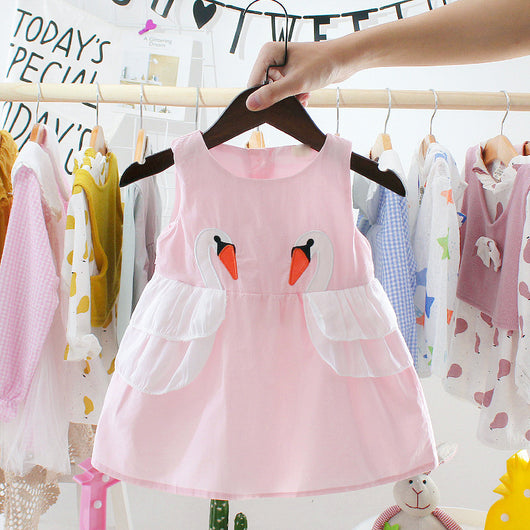 [352160] - Dress Import Anak Perempuan High Fashion - Motif Two Geese