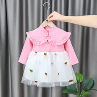 [352218-PINK] - Dress Import Anak Perempuan High Fashion - Motif Cherry Pattern