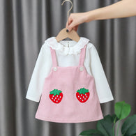 [352170-PINK] - Dress Import Anak Perempuan High Fashion - Motif Two Big Strawberries