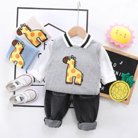 [345131-GRAY] - Setelan Rompi Sweater Two In One Anak / Setelan Import - Motif Cute Giraffe