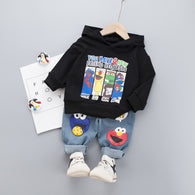 [345134-BLACK] - Setelan Sweater Anak Import - Motif Cookie Monster Friends