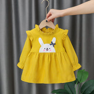 [352171-MUSTARD] - Dress Import Anak Perempuan High Fashion - Motif Banded Rabbit