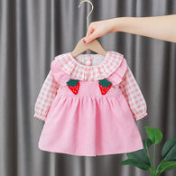 [352174-PINK] - Dress Import Anak Perempuan High Fashion - Motif Strawberry Gingham