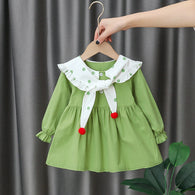 [352217-GREEN] - Dress Import Anak Perempuan High Fashion - Motif Polkadot Collar