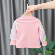 [352196-PINK] - Atasan Import Anak Perempuan Sweet Fashion - Motif Transparent Lace