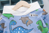 [345155-WHITE] - Setelan Sweater Hoodie Anak / Setelan Hype Import - Motif Dino Species
