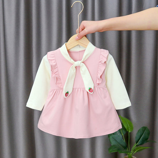 [352198-PINK] - Dress Import Anak Perempuan Sweet Fashion - Motif Strawberry Tie