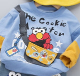 [345132-BLUE] - Setelan Sweater Anak / Setelan Hype Import - Motif The Cookie Monster