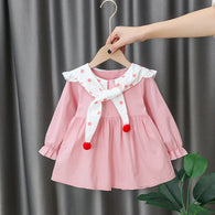 [352217-PINK] - Dress Import Anak Perempuan High Fashion - Motif Polkadot Collar