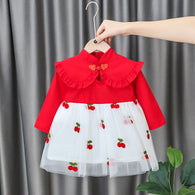 [352218-RED] - Dress Import Anak Perempuan High Fashion - Motif Cherry Pattern