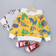 [345167-YELLOW] - Atasan Sweater Hoodie Anak / Atasan Anak Import - Motif Dino Species
