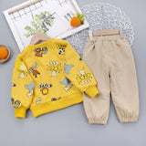 [345139-BEIGE] - Setelan Sweater Anak / Setelan Hype Import - Motif Cute Animal