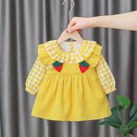 [352174-MUSTARD] - Dress Import Anak Perempuan High Fashion - Motif Strawberry Gingham