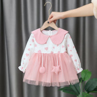 [352173-WHITE PINK] - Dress Import Anak Perempuan High Fashion - Motif Heart Pattern