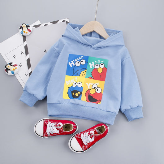 [345168-BLUE] - Atasan Sweater Hoodie Anak Modish / Atasan Anak Import - Motif Cookie Mons Thinking