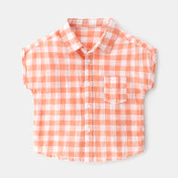 [366142-ORANGE] - Kemeja Import Atasan Anak - Motif Beautiful Gingham