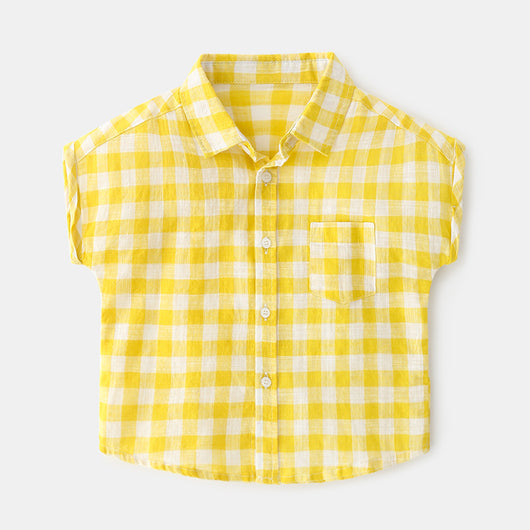 [366142-YELLOW] - Kemeja Import Atasan Anak - Motif Beautiful Gingham