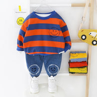 [364126-BLUE ORANGE] - Setelan Premium Sweater Anak / Setelan Import - Motif Smile Emoticons