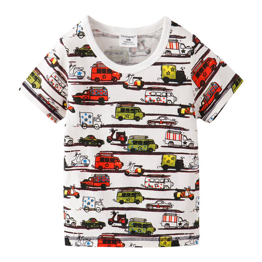 [357323] - Baju Atasan Anak Trendi / Atasan Anak Import / Kaos Anak - Motif Cool Color Vehicles