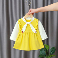 [352198-YELLOW] - Dress Import Anak Perempuan Sweet Fashion - Motif Strawberry Tie