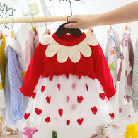 [352161-RED] - Dress Import Anak Perempuan High Fashion - Motif Interest Collars