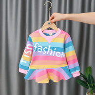 [352225-PINK RAINBOW] - Dress Import Anak High Fashion - Motif Fish Fashion