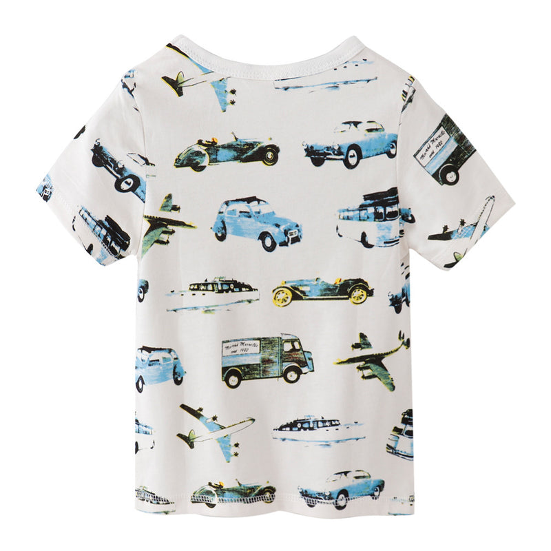 [357326] - Baju Atasan Summer Anak Trendi / Kaos Anak Import - Motif Vehicle Transportation