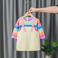 [352219-BLUE RAINBOW] - Setelan Overall Anak High Fashion Import - Motif Color Pin Pattern