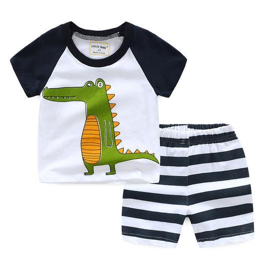 [354333] - Baju Setelan Street Wear Anak Import Sleek Style - Motif Crocodile Stripe