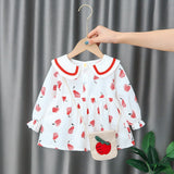 [352162-RED WHITE] - Dress Import Anak Perempuan High Fashion - Motif Apple Pattern
