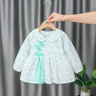 [352176-TOSCA GREEN] - Dress Import Anak Perempuan High Fashion - Motif Little Leaf