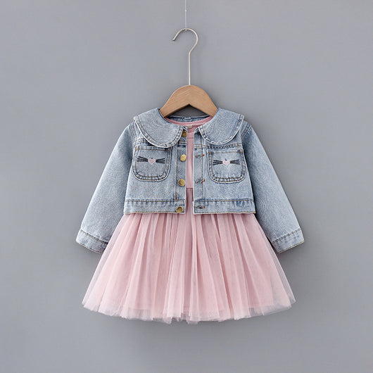 [364103] - Dress Jaket Jeans Two In One Anak Perempuan - Motif Wide Collar