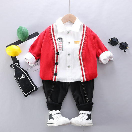 [345162-RED] - Setelan Sweater Anak 3 in 1 / Setelan Anak 3 in 1 Style Casual  - Motif American Fashion