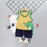 [345150-YELLOW] - Setelan Singlet Hypebeast Anak / Setelan Import - Motif 3D Striped Crocodile