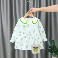 [352162-GREEN WHITE] - Dress Import Anak Perempuan High Fashion - Motif Apple Pattern