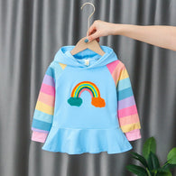 [352226-LIGHT BLUE] - Sweater Hoodie Import Anak High Fashion - Motif Solid Rainbow