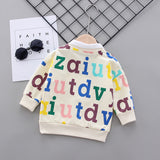 [358128-CREAM] - Baju Atasan Anak / Atasan Sweater Anak Style Korean - Motif Alphabet Collar