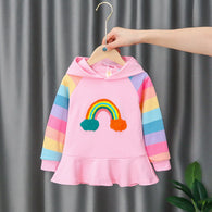[352226-PINK] - Sweater Hoodie Import Anak High Fashion - Motif Solid Rainbow