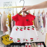 [352177-RED] - Dress Import 3D Anak Perempuan High Fashion - Motif Cherry Subordinates