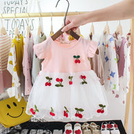 [352177-PINK] - Dress Import 3D Anak Perempuan High Fashion - Motif Cherry Subordinates