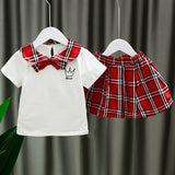 [352164-WHITE] - Setelan Import Anak Perempuan High Fashion - Motif Crown Tartan