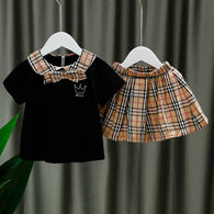 [352164-BLACK] - Setelan Import Anak Perempuan High Fashion - Motif Crown Tartan