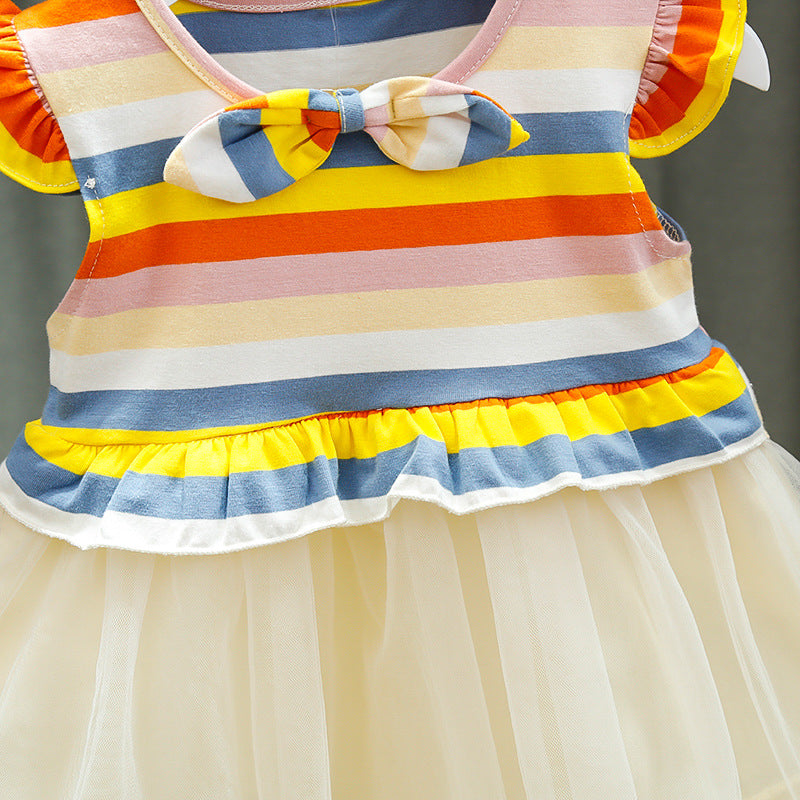 [352180-YELLOW RAINBOW] - Dress Import Anak Perempuan High Fashion - Motif Tie Decoration