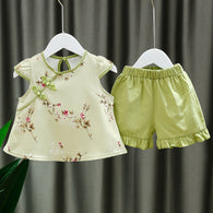 [352163-GREEN] - Setelan Import Anak Perempuan High Fashion - Motif Shanghai Flowers