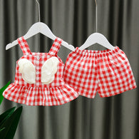 [352165-RED WHITE] - Setelan Import 3D Anak Perempuan High Fashion - Motif Gingham Wings