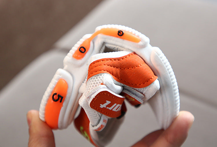 [343144-WHITE ORANGE] - Sepatu Sandal Lampu Anak LED Lights Import - Motif Cool Sports