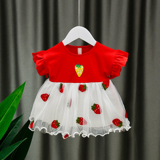 [352222] - Dress Import Anak High Fashion - Motif Solid Strawberry