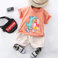 [345184-BRICK ORANGE] - Baju Setelan Hypebeast Anak Import - Motif Dino Dream Team