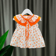 [352220-ORANGE] - Dress Import  Anak Perempuan Kawai Style - Motif Collection of Flowers