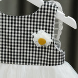 [352181-BLACK] - Dress Import 3D Anak Perempuan High Fashion - Motif Gingham Butterfly Wings
